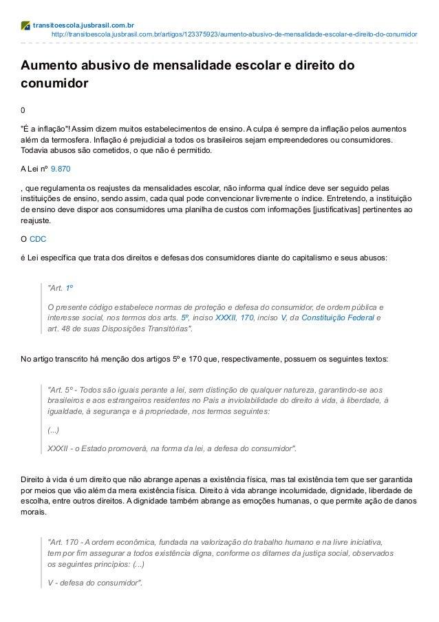 transitoescola.jusbrasil.com.br http://transitoescola.jusbrasil.com.br/artigos/123375923/aumento-abusivo-de-mensalidade-es...