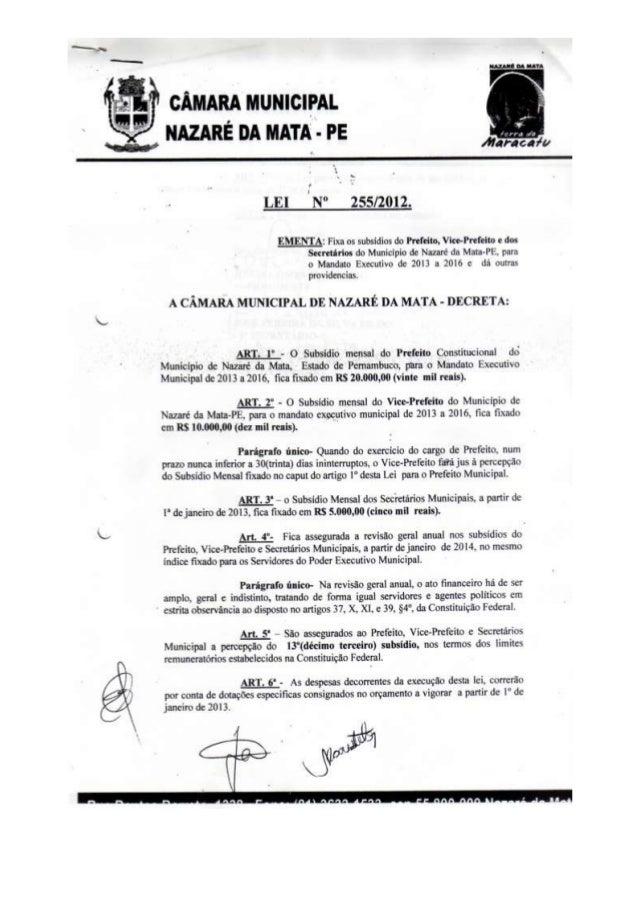 Aumento vereadores Nazaré da Mata - 2012
