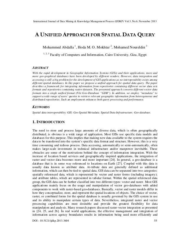 International Journal of Data Mining & Knowledge Management Process (IJDKP) Vol.3, No.6, November 2013  A UNIFIED APPROACH...