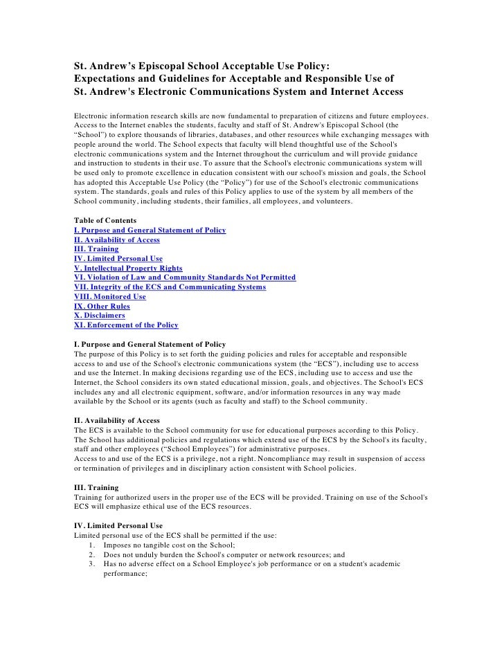 St. Andrew's Episcopal School Acceptable Use Policy: Expectations and Guidelines for Acceptable and Responsible Use of St....
