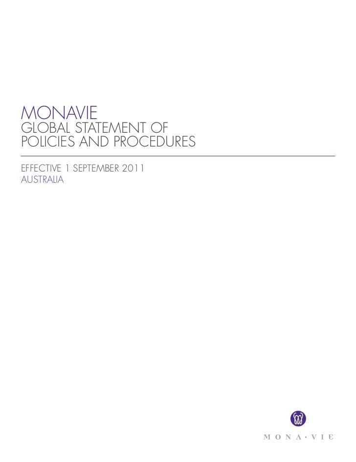MONAVIEGLOBAL STATEMENT OFPOLICIES AND PROCEDURESEFFECTIVE 1 SEPTEMBER 2011AUSTRALIA