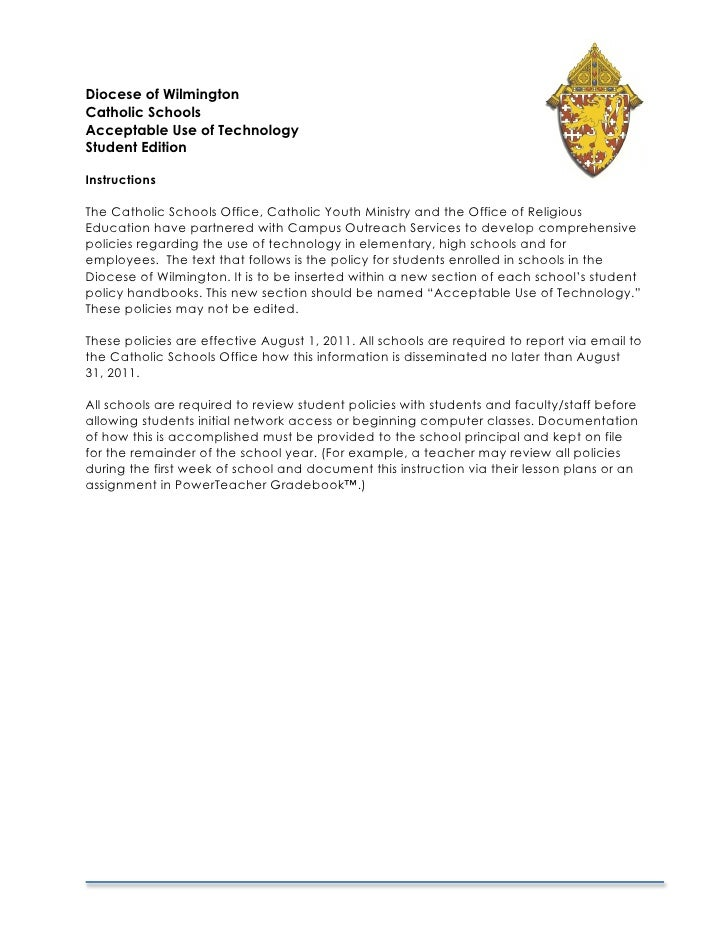 Diocese of WilmingtonCatholic SchoolsAcceptable Use of TechnologyStudent EditionInstructionsThe Catholic Schools Office, C...