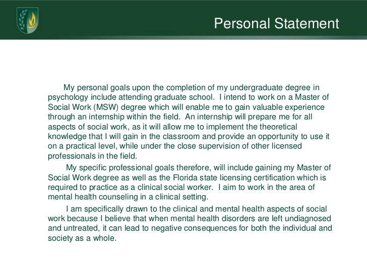 personal statement social work degree How to write an effective personal statement for a social work job many people incorporate a short personal statement at the top of their cv, but social work.