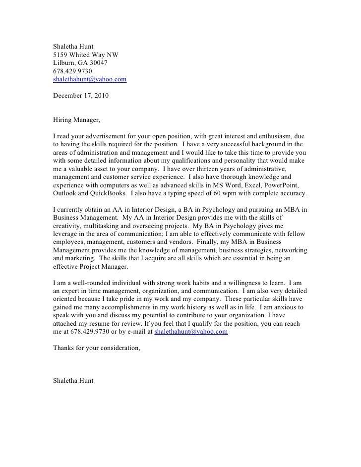 Interior Design Covering Letter