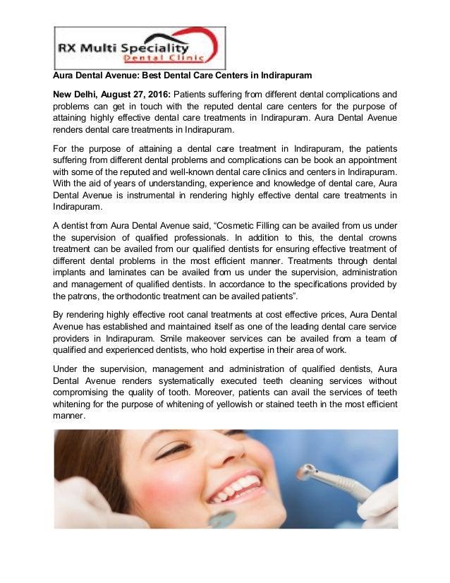 Aura Dental Avenue: Best Dental Care Centers in Indirapuram New Delhi, August 27, 2016: Patients suffering from different ...