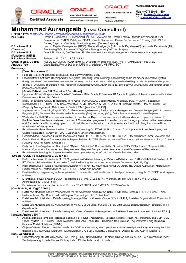 Muhammad Aurangzaib Mobile +971 50 951 1419 Email: itroome@yahoo.com, CC:aurangzaib@hotmail.com Muhammad Aurangzaib (Lead ...