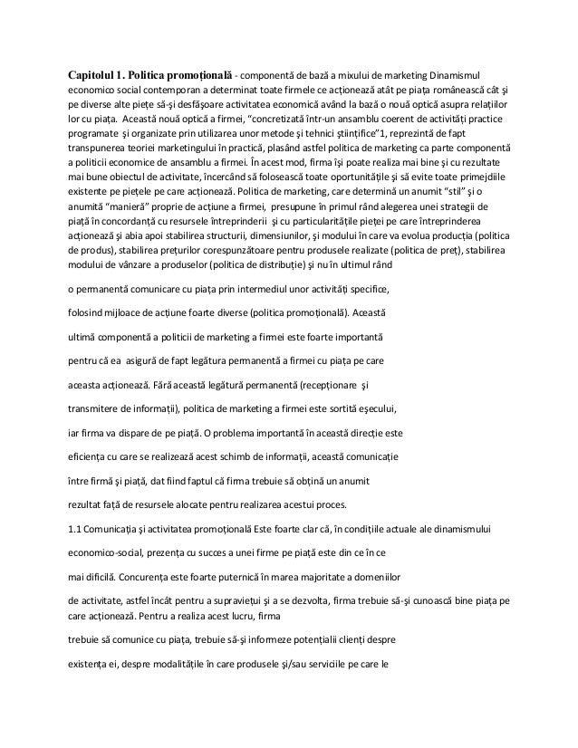 Capitolul 1. Politica promoţională - componentă de bază a mixului de marketing Dinamismuleconomico social contemporan a de...