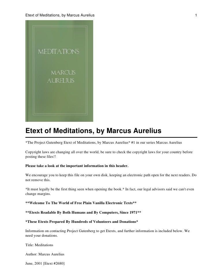 Etext of Meditations, by Marcus Aurelius                                                                          1     Et...