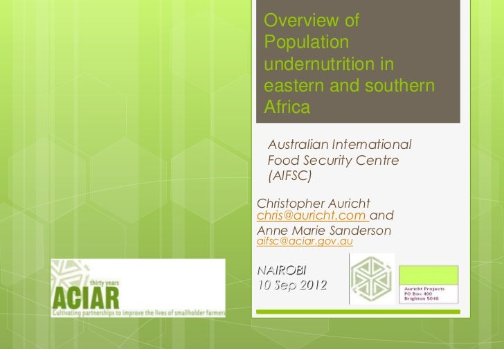 Overview of Population undernutrition in eastern and southern Africa  Australian International  Food Security Centre  (AIF...