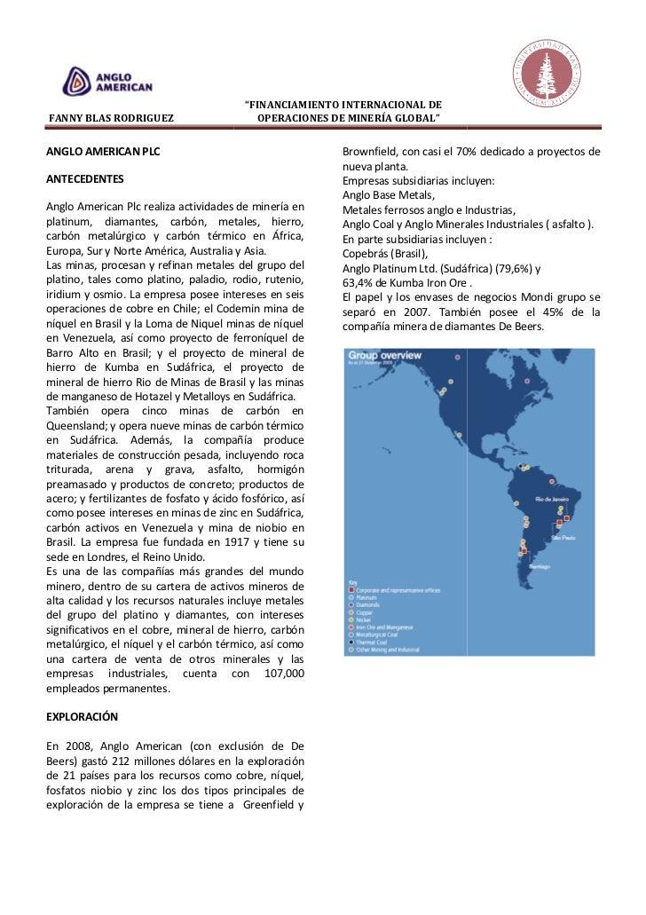 """""""FINANCIAMIENTO INTERNACIONAL DEFANNY BLAS RODRIGUEZ                         OPERACIONES DE MINERÍA GLOBAL""""ANGLO AMERICAN ..."""