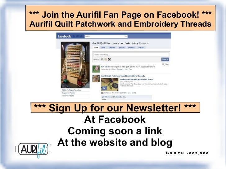 *** Join the Aurifil Fan Page on Facebook! *** Aurifil Quilt Patchwork and Embroidery Threads *** Sign Up for our Newslett...