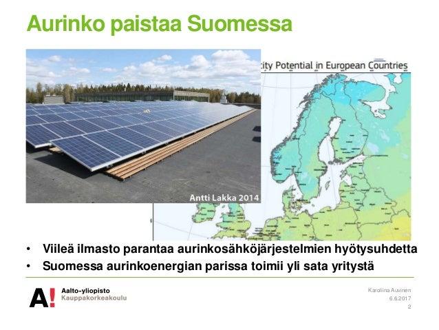 Aurinkosähkö Suomessa ja haasteet taloyhtiöissä Slide 2
