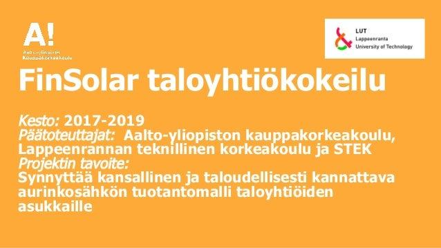 Aurinkoenergiayhteisöt taloyhtiössä Slide 3