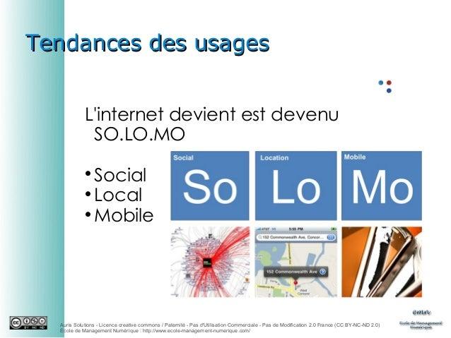 Tendances des usages L'internet devient est devenu SO.LO.MO Social  Local  Mobile   Auris Solutions - Licence creative ...