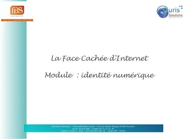 La Face Cachée d'Internet Module: identité numérique  SAS Auris Solutions - Technoôle Brest Iroise - 115 rue Claude Chapp...