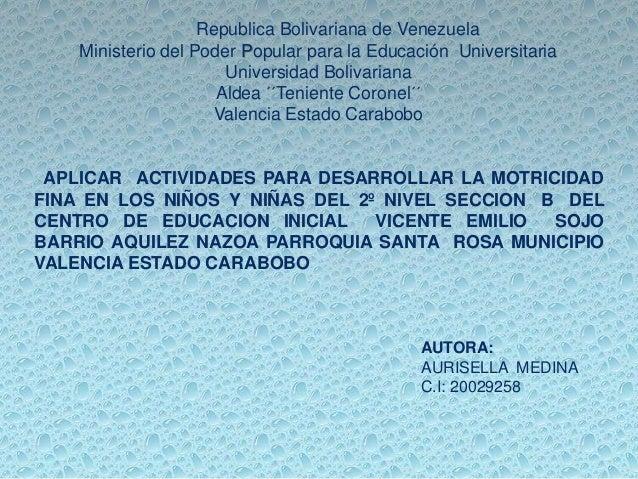 Republica Bolivariana de Venezuela Ministerio del Poder Popular para la Educación Universitaria Universidad Bolivariana Al...