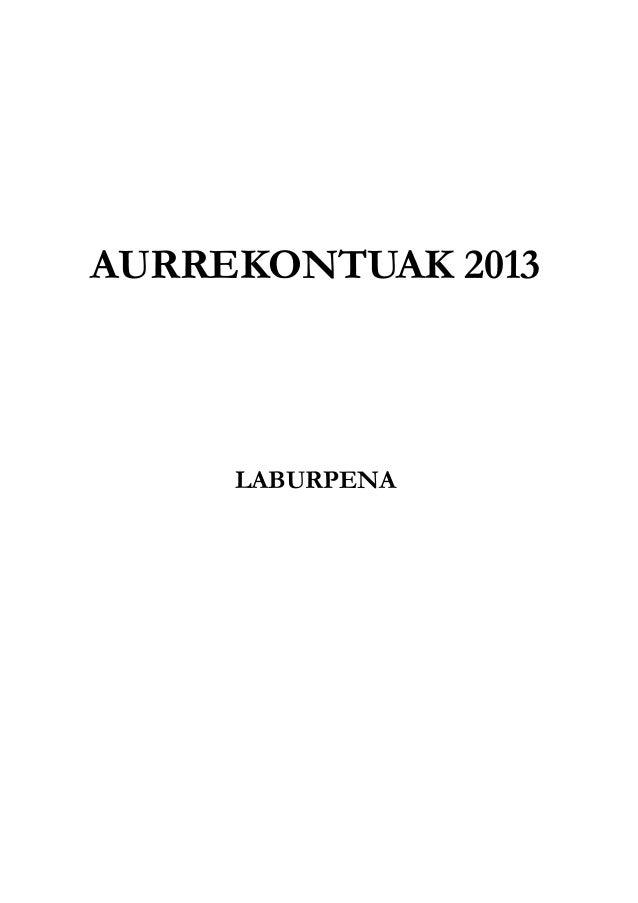 AURREKONTUAK 2013LABURPENA