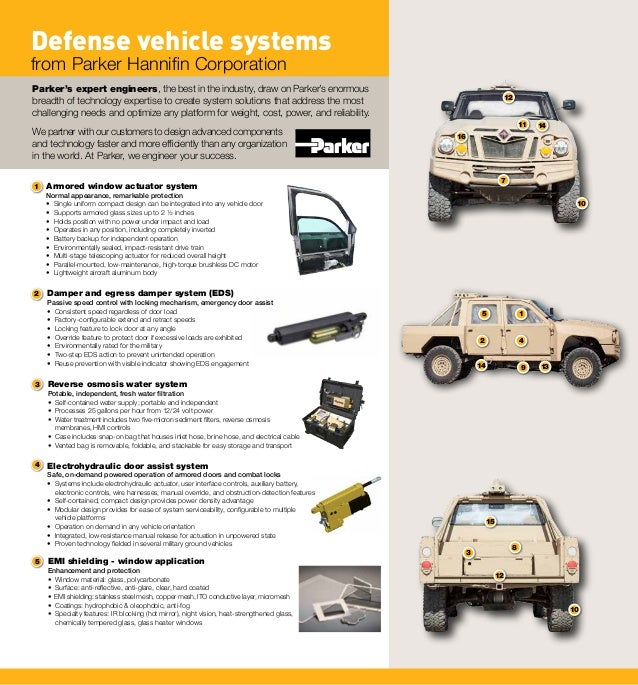 14 14 11 12 16 10 10 12 13 3 15 8 1 2 4 9 7 5 3 4 5 Defense vehicle systems from Parker Hannifin Corporation Parker's expe...