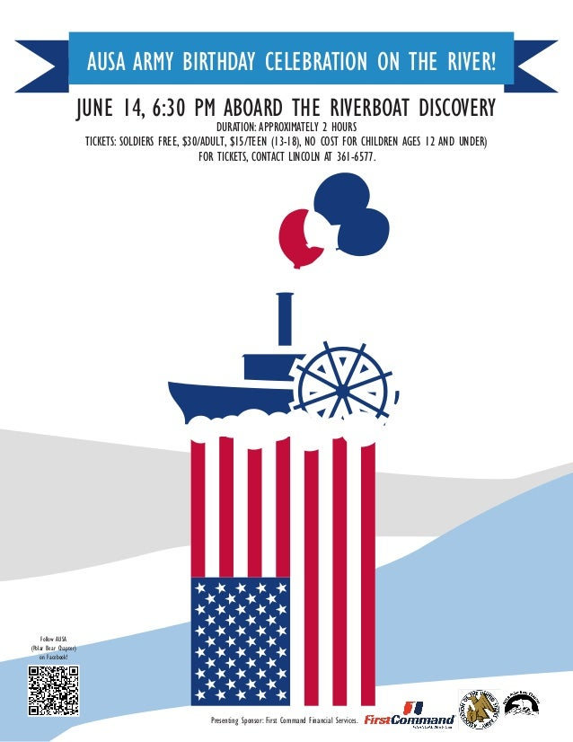 Presenting Sponsor: First Command Financial Services.JUNE 14, 6:30 PM ABOARD THE RIVERBOAT DISCOVERYDURATION: APPROXIMATEL...