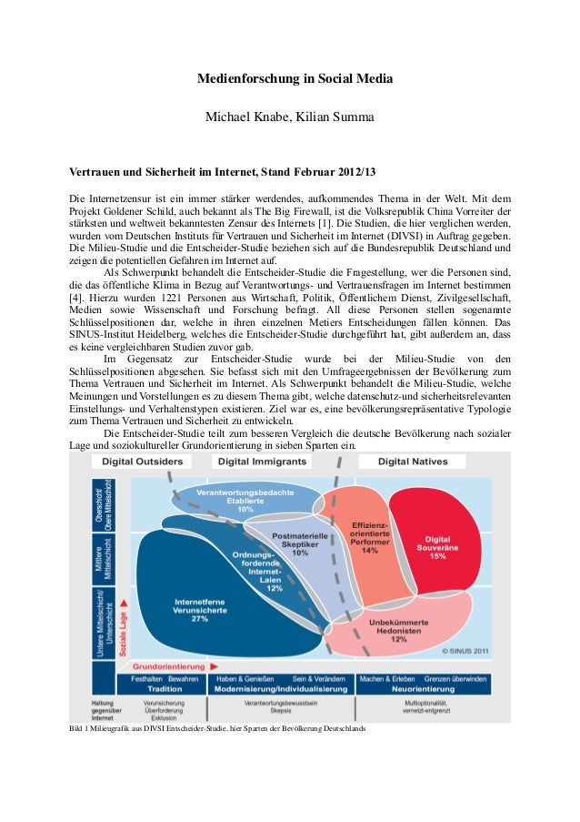 Medienforschung in Social Media Michael Knabe, Kilian Summa Vertrauen und Sicherheit im Internet, Stand Februar 2012/13 Di...