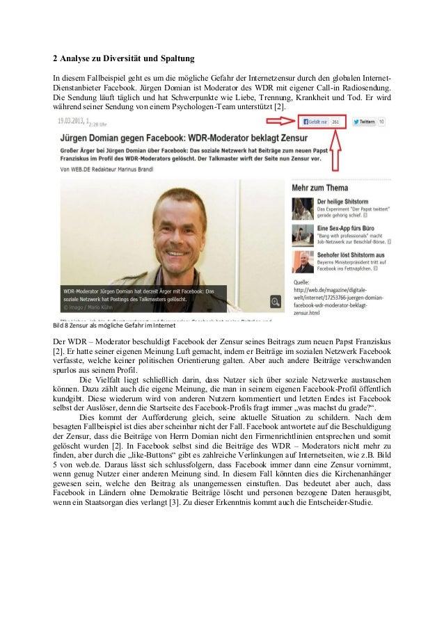 2 Analyse zu Diversität und Spaltung In diesem Fallbeispiel geht es um die mögliche Gefahr der Internetzensur durch den gl...