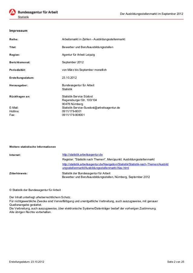 Der Ausbildungsstellenmarkt im September 2012ImpressumReihe:                                     Arbeitsmarkt in Zahlen - ...