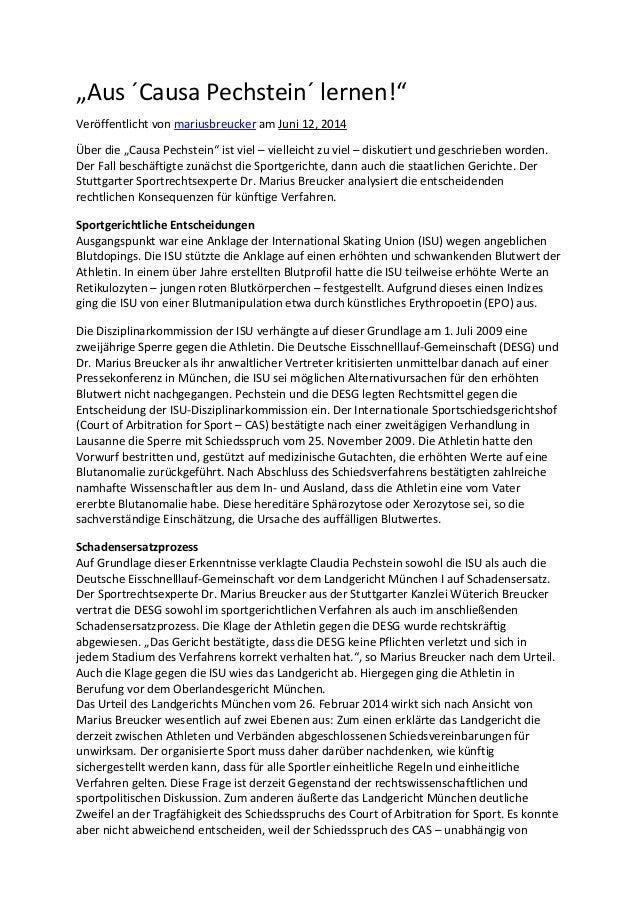 """""""Aus ´Causa Pechstein´ lernen!"""" Veröffentlicht von mariusbreucker am Juni 12, 2014 Über die """"Causa Pechstein"""" ist viel – v..."""