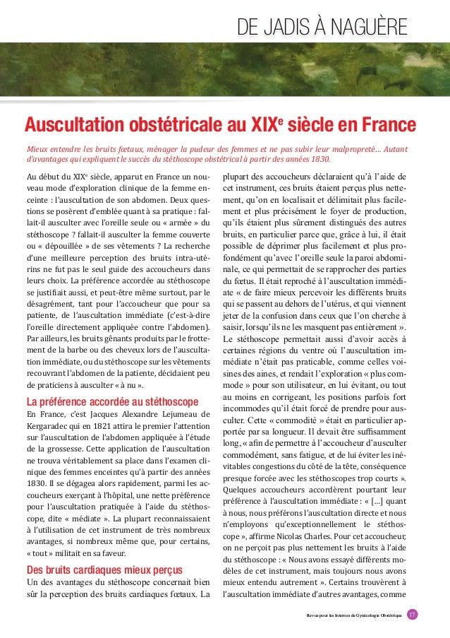 Revue pour les Internes de Gynécologie Obstétrique 17 DE JADIS À NAGUÈRE Revue pour les Internes de Gynécologie Obstétriqu...