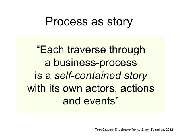 """""""Each traverse through a business-process is a self-contained story with its own actors, actions and events"""" Tom Graves, T..."""