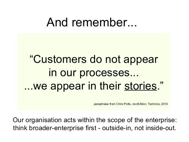 """""""Customers do not appear in our processes... ...we appear in their stories."""" paraphrase from Chris Potts, recrEAtion, Tech..."""