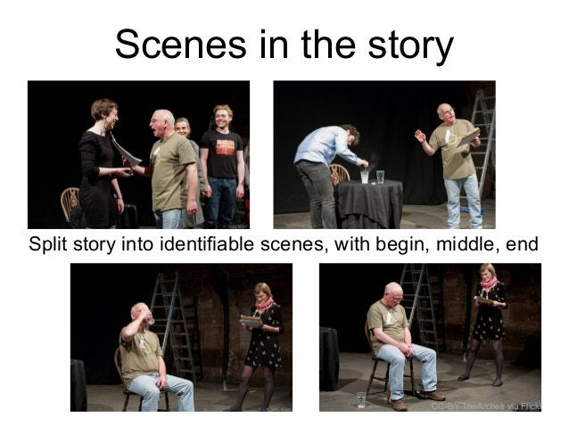 Scenes in the story Split story into identifiable scenes, with begin, middle, end CC-BY TheArches via Flickr