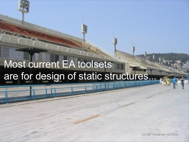 CC-BY Avodrocc via Flickr Most current EA toolsets are for design of static structures...