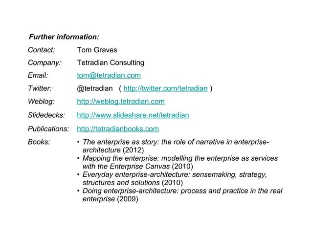 Contact: Tom Graves Company: Tetradian Consulting Email: tom@tetradian.com Twitter: @tetradian ( http://twitter.com/tetrad...