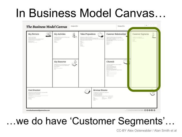 In Business Model Canvas… CC-BY Alex Osterwalder / Alan Smith et al …we do have 'Customer Segments'…