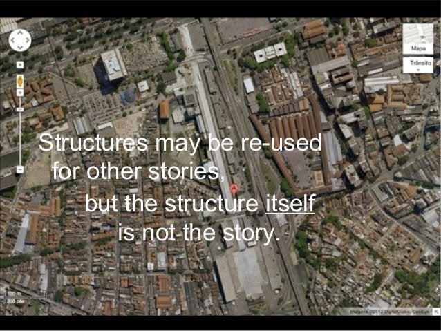 Structures may be re-used for other stories, but the structure itself is not the story.