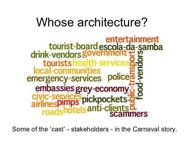 Whose architecture? Some of the 'cast' - stakeholders - in the Carnaval story.