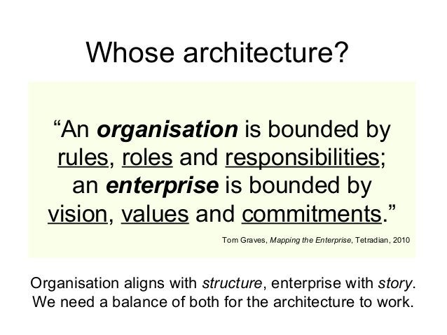 """""""An organisation is bounded by rules, roles and responsibilities; an enterprise is bounded by vision, values and commitmen..."""