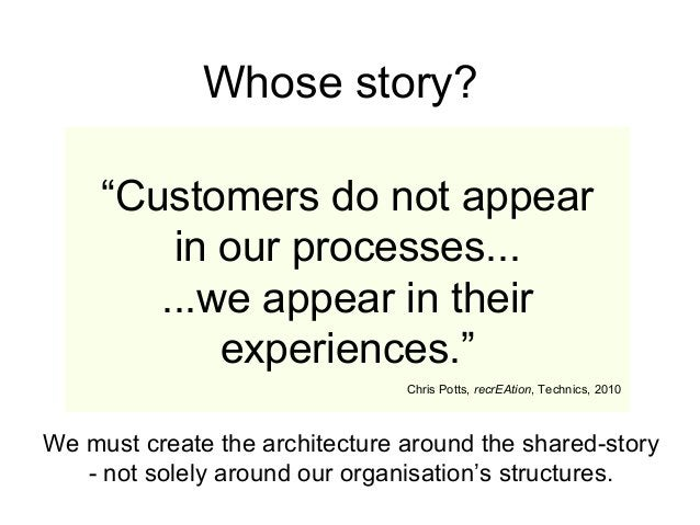 """""""Customers do not appear in our processes... ...we appear in their experiences."""" Chris Potts, recrEAtion, Technics, 2010 W..."""