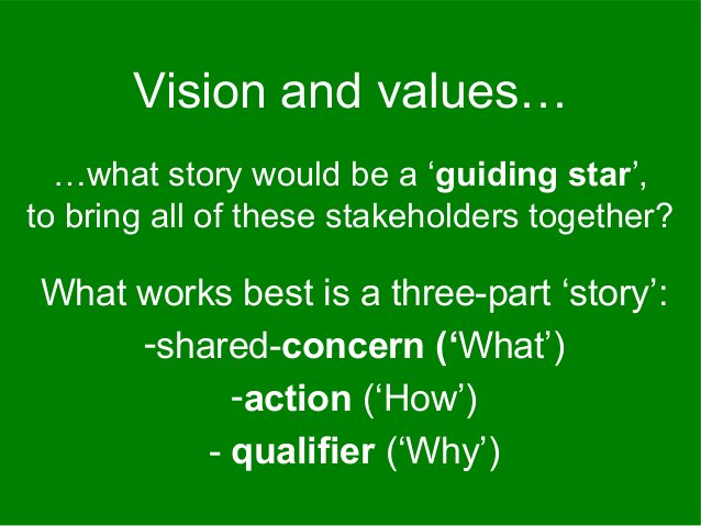 …what story would be a 'guiding star', to bring all of these stakeholders together? Vision and values… What works best is ...
