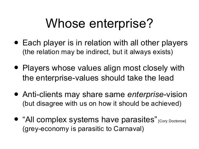 Whose enterprise? • Each player is in relation with all other players (the relation may be indirect, but it always exists)...