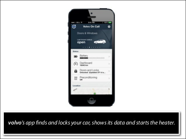 volvo's app finds and locks your car, shows its data and starts the heater.
