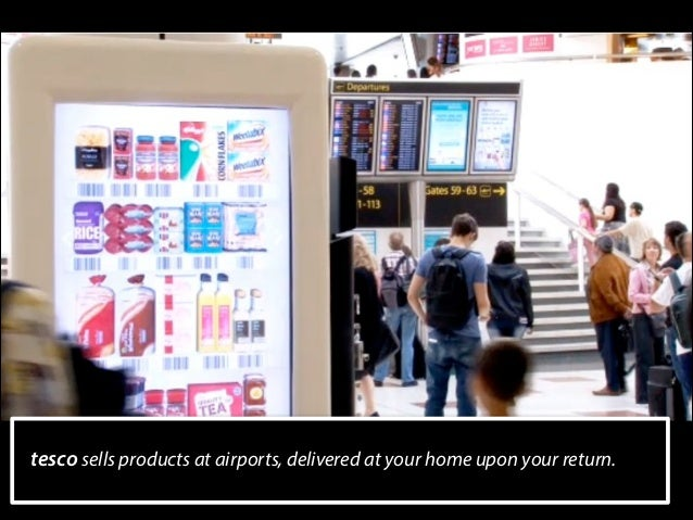 tesco sells products at airports, delivered at your home upon your return.