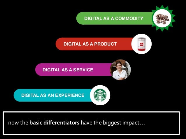 DIGITAL AS A COMMODITY  DIGITAL AS A PRODUCT  DIGITAL AS A SERVICE  DIGITAL AS AN EXPERIENCE  now the basic differentiators...