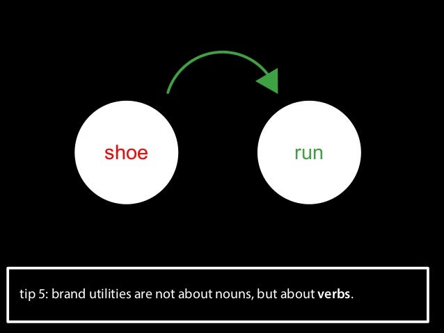 shoe  run  tip 5: brand utilities are not about nouns, but about verbs.