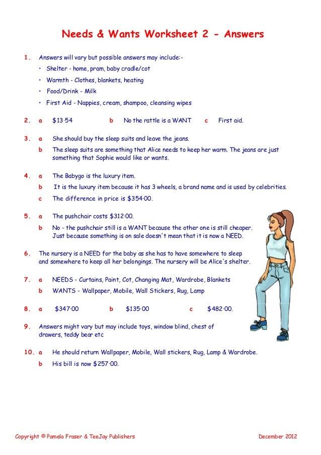 Needs Wants Worksheet 1