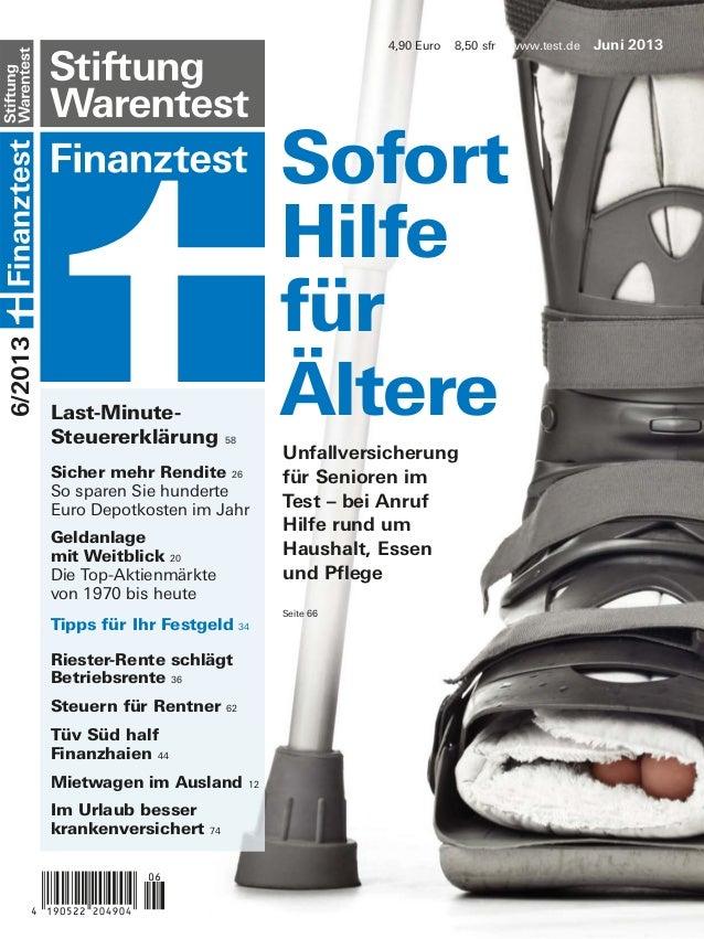4,90 Euro  8,50 sfr  6/2013  Titel  Last-MinuteSteuererklärung  Sofort Hilfe für Ältere 58  Sicher mehr Rendite 26 So spar...