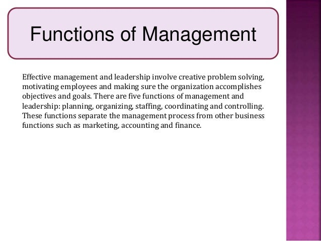 The separate functions of management and leadership