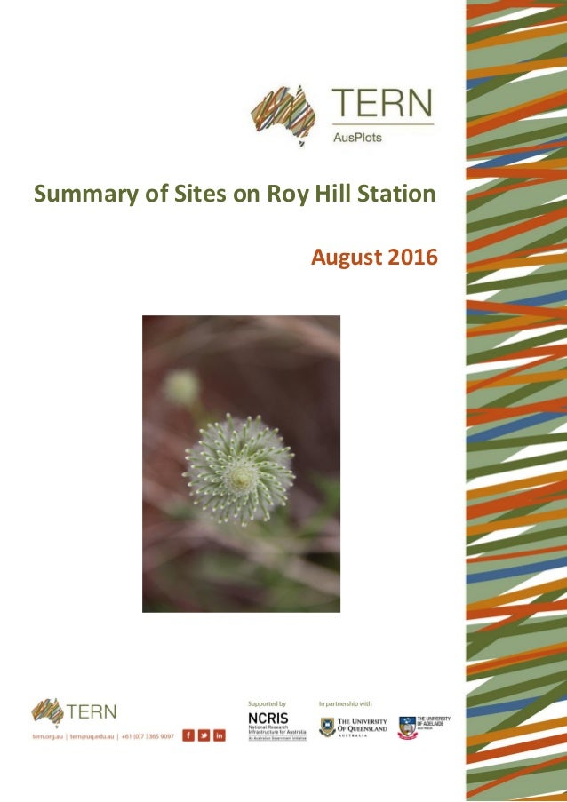 Summary of Sites on Roy Hill Station August 2016