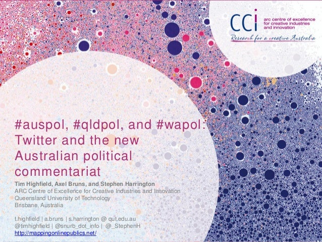 #auspol, #qldpol, and #wapol:Twitter and the newAustralian politicalcommentariatTim Highfield, Axel Bruns, and Stephen Har...