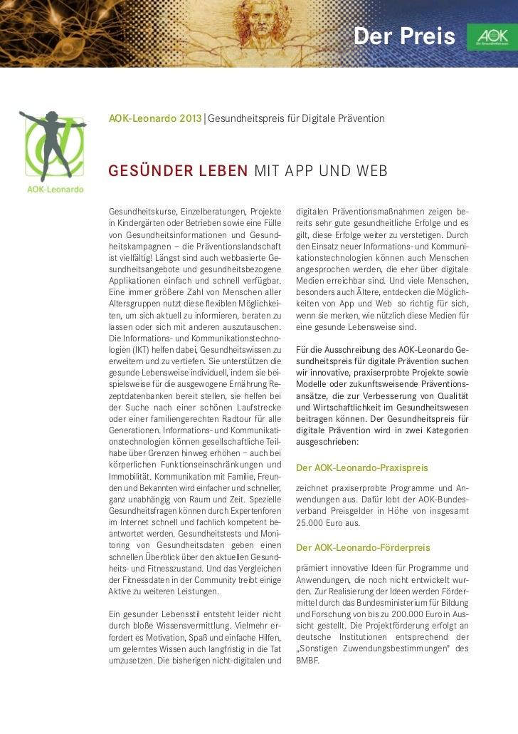 Der PreisAOK-Leonardo 2013|Gesundheitspreis für Digitale PräventionGESÜNDER LEBEN MIT APP UND WEBGesundheitskurse, Einzelb...